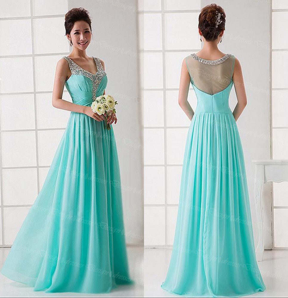 Women Halter Beading Dress V Neck Evening Party Dress Sexy Long Prom ...