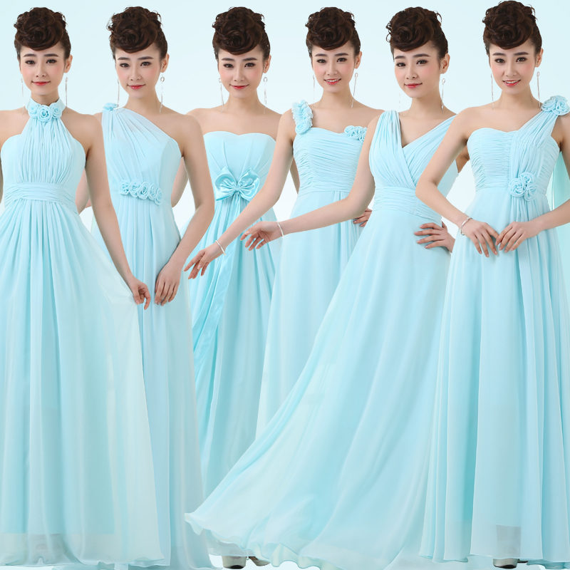 Long Bridesmaid Dress 6 Styles Women Halter Beading Evening Party Y Strapless Prom Chiffon Sleeveless V Neck Formal Top