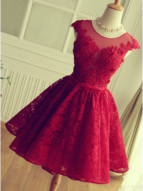 Graduation Dress On Sale,cheap Lace Appliques Short Prom Dresses ...