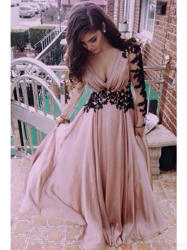 A Line Real Made Charming Prom Dressappliques Formal Dresses