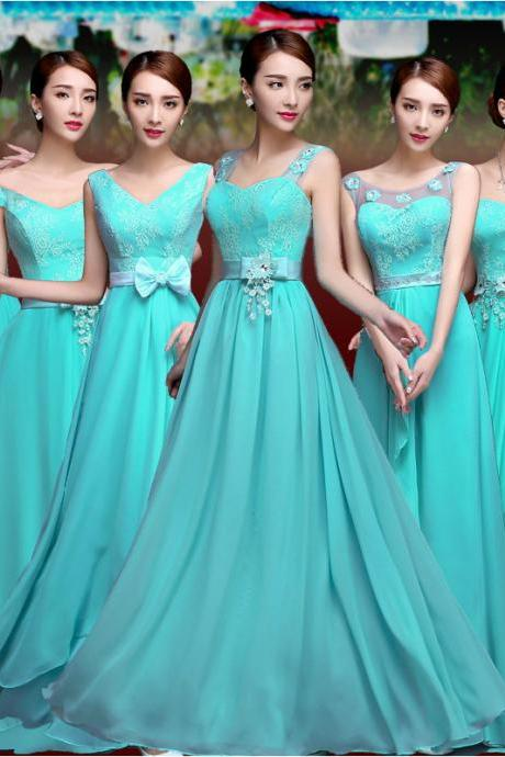 Long Style Bridesmaid Dress 6 Styles Women Halter Beading Dress Evening Party Dress Sexy Strapless Prom Dress Tube Top Dress Chiffon Sleeveless V Neck Formal Dress